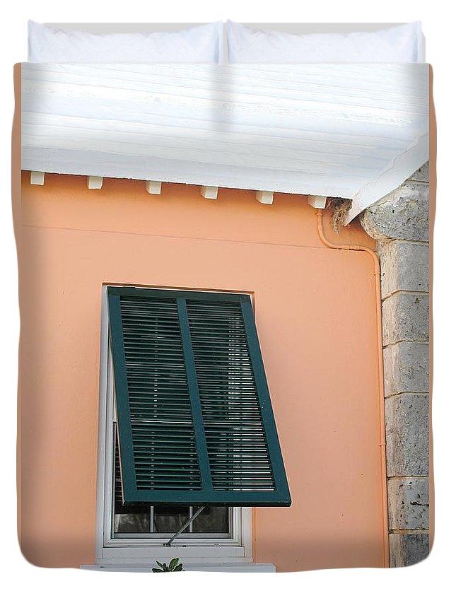 Bermuda Duvet Cover featuring the photograph Bermuda Shutters by Ian MacDonald