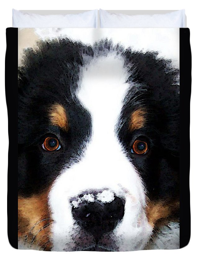 Bernese Mountain Dog Duvet Cover featuring the painting Bernese Mountain Dog - Baby It's Cold Outside by Sharon Cummings