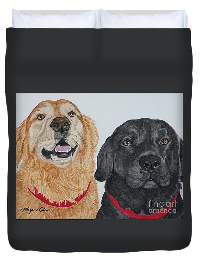 Dogs Duvet Cover featuring the painting Best Buds by Megan Cohen