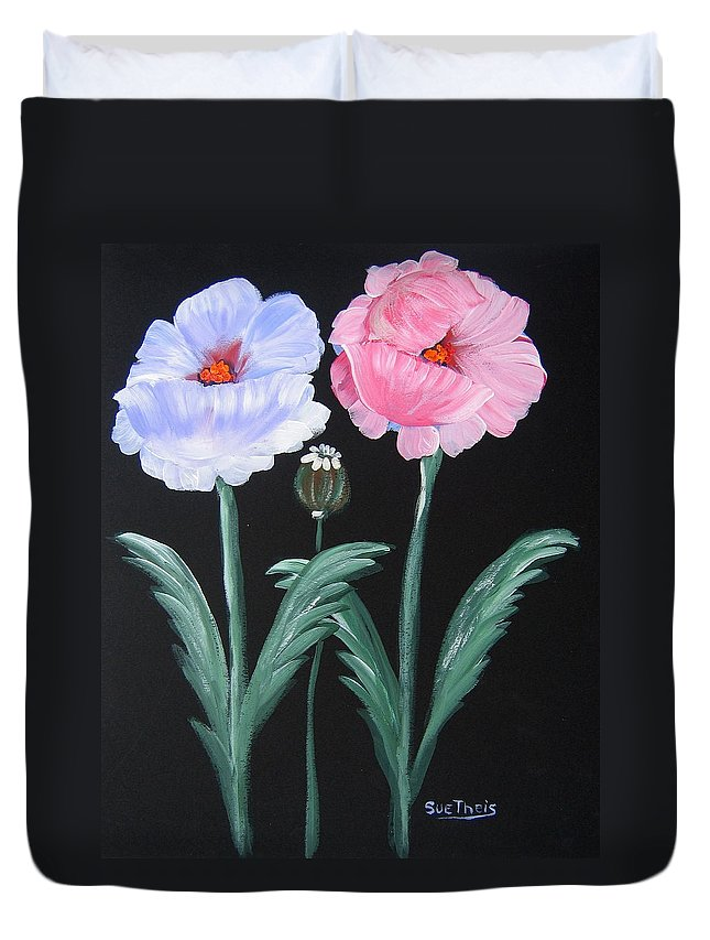 Flowers Duvet Cover featuring the painting Best Buds by Suzanne Theis