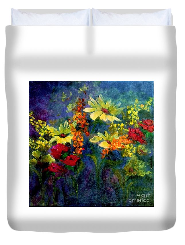 Flowers Duvet Cover featuring the painting Best Friends by Madeleine Holzberg