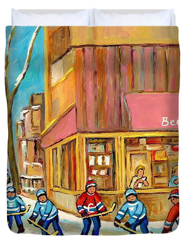 Beauty's Restaurant Duvet Cover featuring the painting Best Sellers Original Montreal Paintings For Sale Hockey At Beauty's By Carole Spandau by Carole Spandau