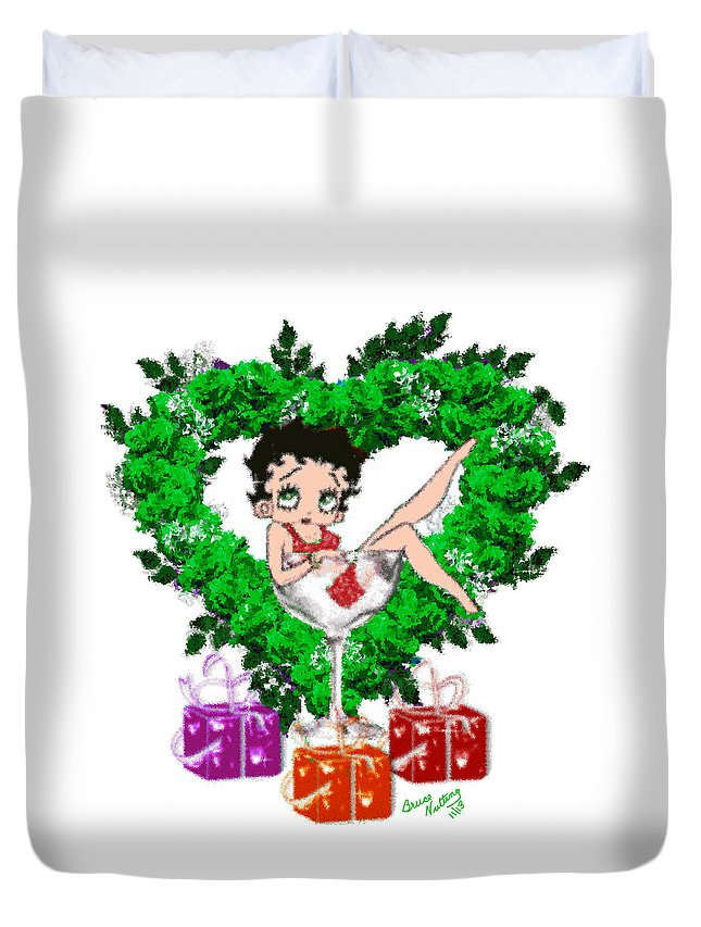 Green Duvet Cover featuring the painting Betty Boop 3 by Bruce Nutting