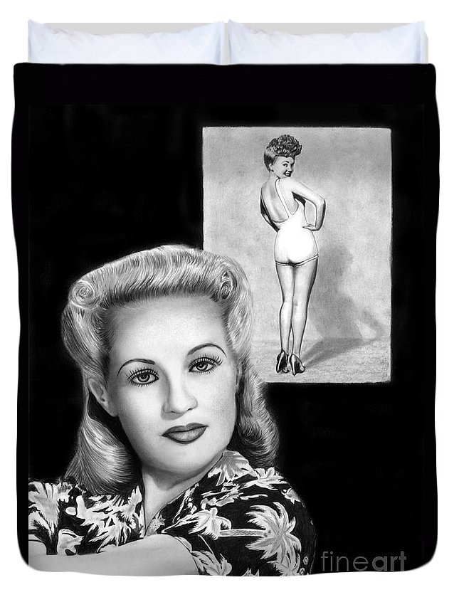 Betty Grable Duvet Cover featuring the drawing Betty Grable by Peter Piatt