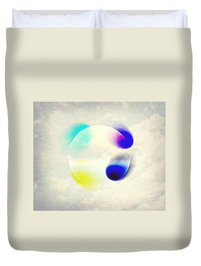 Modern Abstract Duvet Cover featuring the painting Between Clouds Digital Art by Georgeta Blanaru