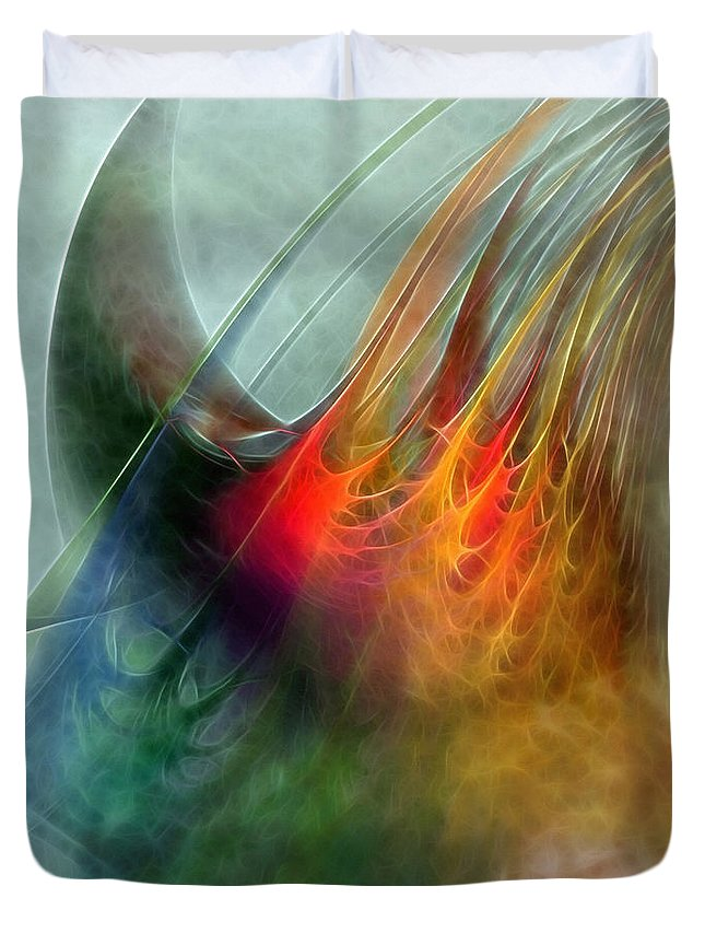 Abstract Duvet Cover featuring the digital art Between Heaven And Earth-abstract by Karin Kuhlmann