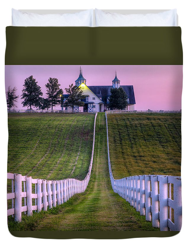 Fence Duvet Cover featuring the photograph Between The Fences by Alexey Stiop
