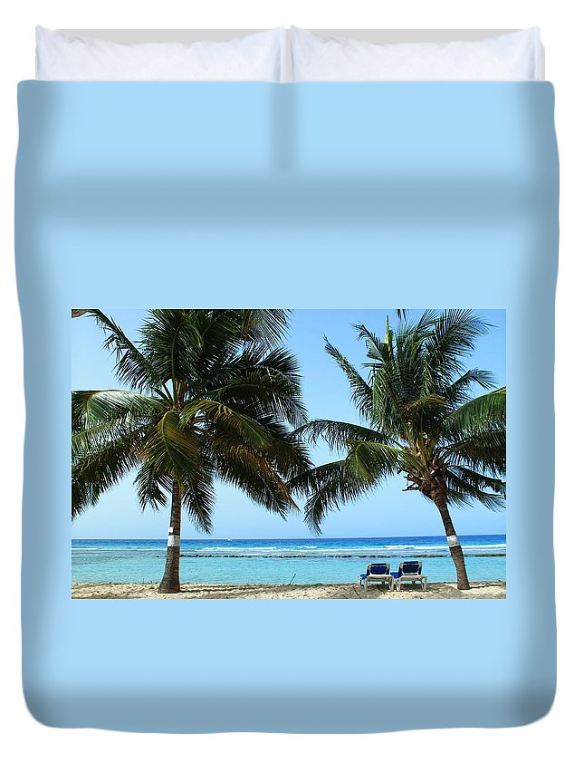 Barbados Duvet Cover featuring the photograph Between The Palms by Catie Canetti