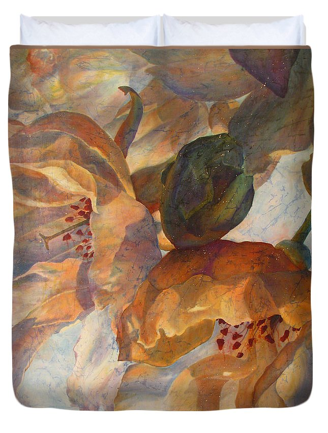 Flower Duvet Cover featuring the painting Bev's Blossoms by Deborah Younglao