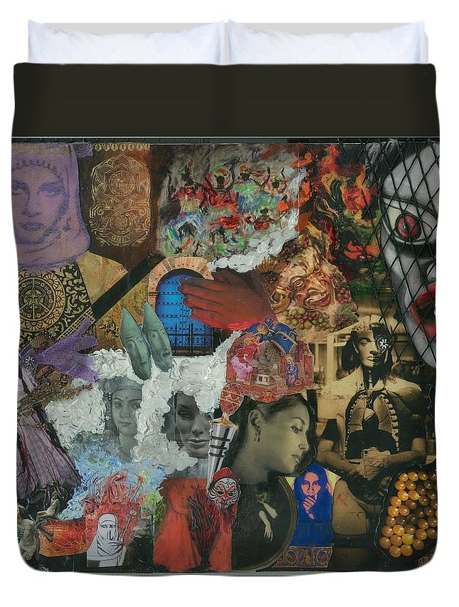 Women Duvet Cover featuring the mixed media Beyond The Mask by Paula Emery