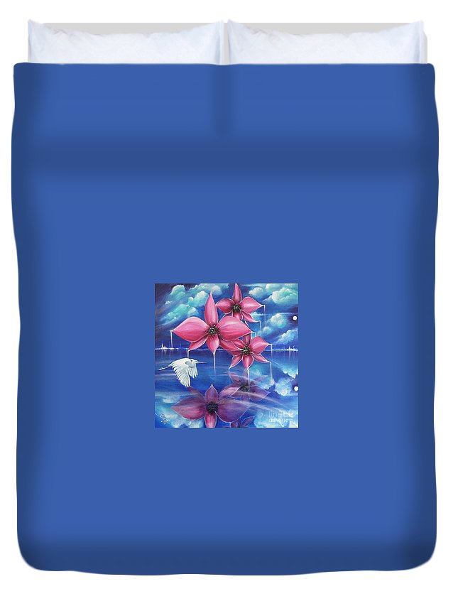 Bird Duvet Cover featuring the painting Beyond The Rainbow by Artist ForYou