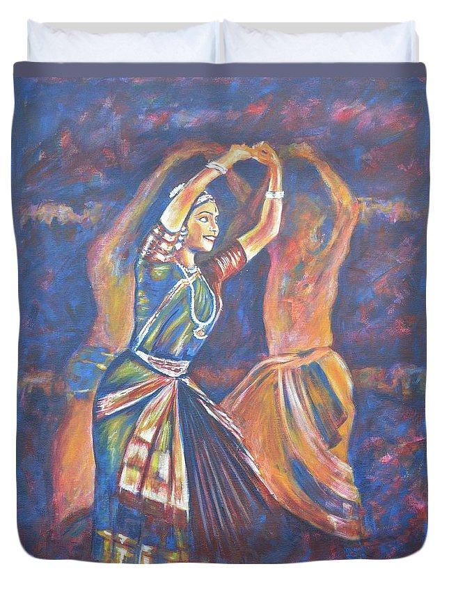Bharatha Naatyam Duvet Cover featuring the painting Bharatha Naatayam 3 by Usha Shantharam