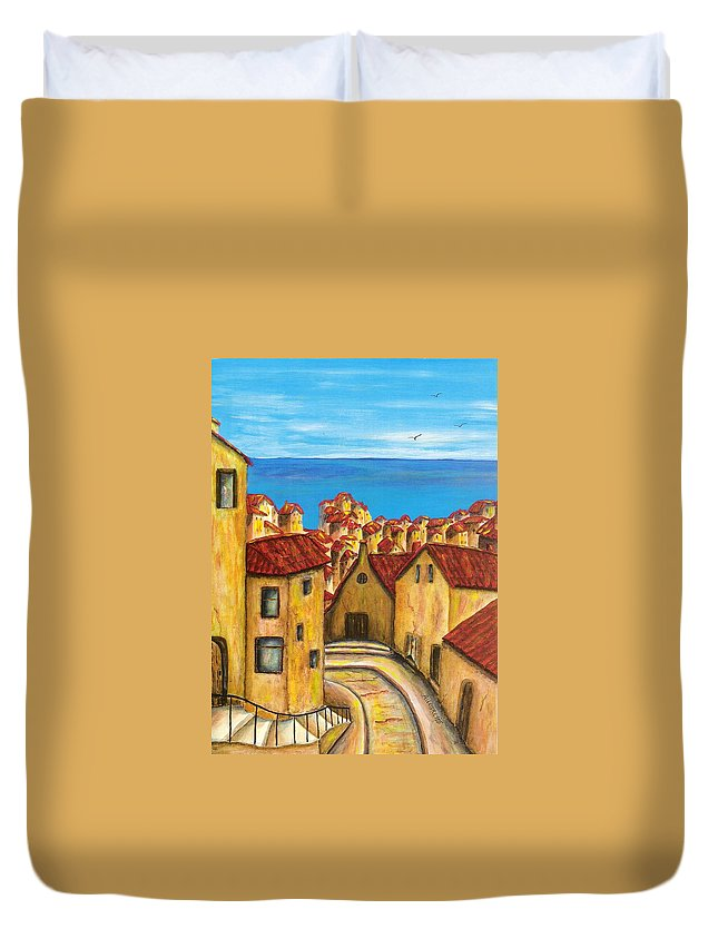 Pamela Allegretto Duvet Cover featuring the painting Biagi In Tuscany by Pamela Allegretto
