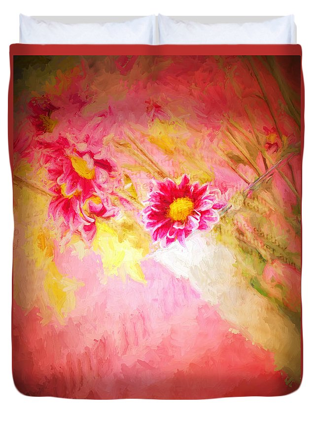Floral Duvet Cover featuring the digital art Bible Passages II by Tina Baxter