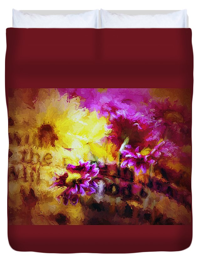 Floral Duvet Cover featuring the digital art Bible Passages IIi by Tina Baxter