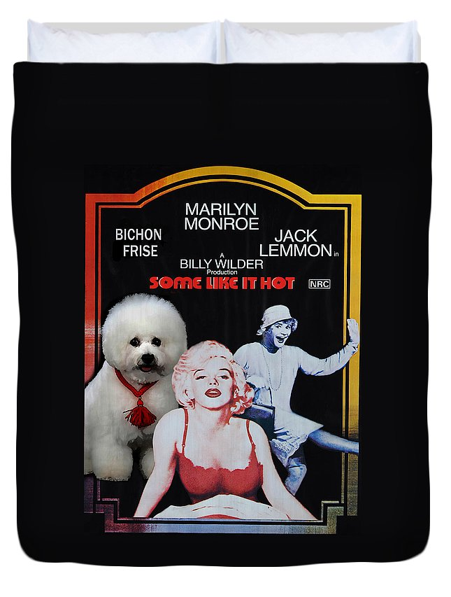Bichon Frise Duvet Cover featuring the painting Bichon Frise Art- Some Like It Hot Movie Poster by Sandra Sij