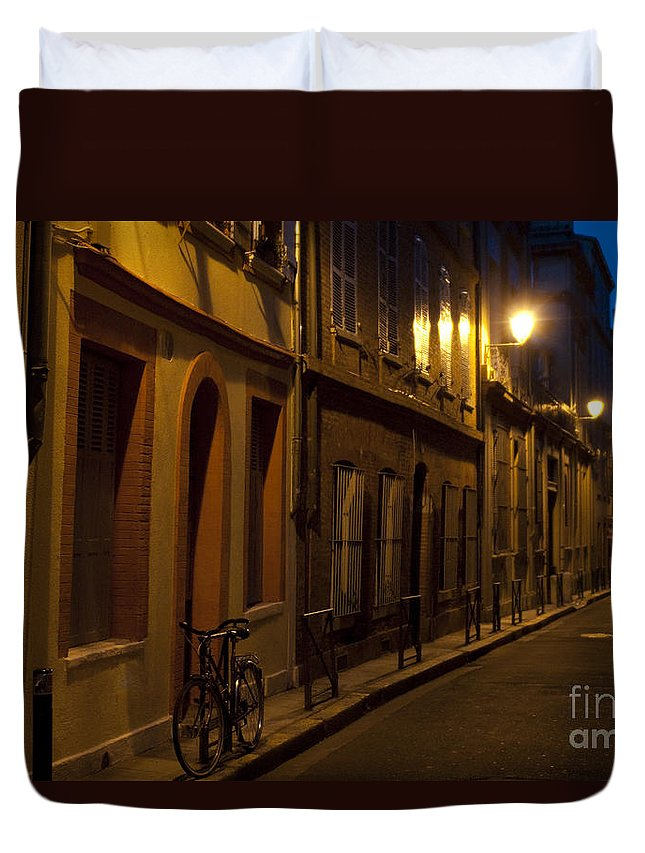 Bicycle Duvet Cover featuring the photograph Bicycle And Empty Street by Lana Enderle