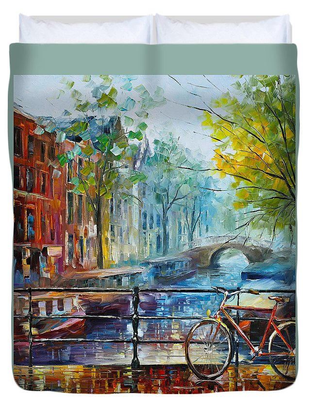 Amsterdam Duvet Cover featuring the painting Bicycle in Amsterdam by Leonid Afremov
