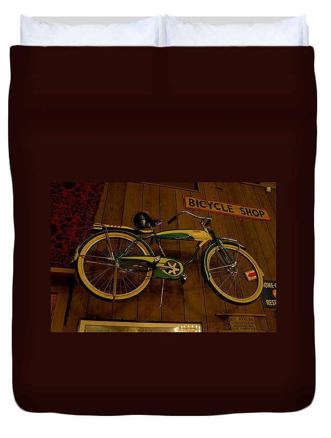 Bicycle Duvet Cover featuring the photograph Bicycle Shop by David Dufresne