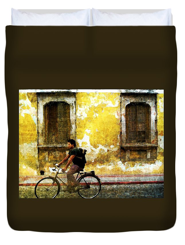 Antigua Duvet Cover featuring the digital art Bicycle Textures by Maria Huntley
