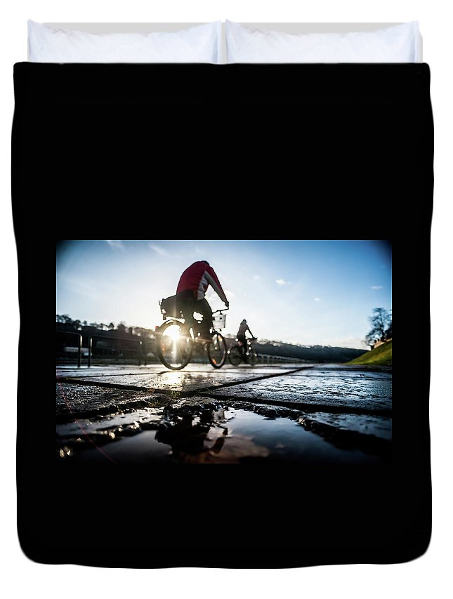 People Duvet Cover featuring the photograph Bicycles by A. Aleksandravicius