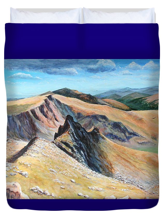 Colorado Duvet Cover featuring the painting Bierstadt Saddle by Art By - Ti  Tolpo Bader