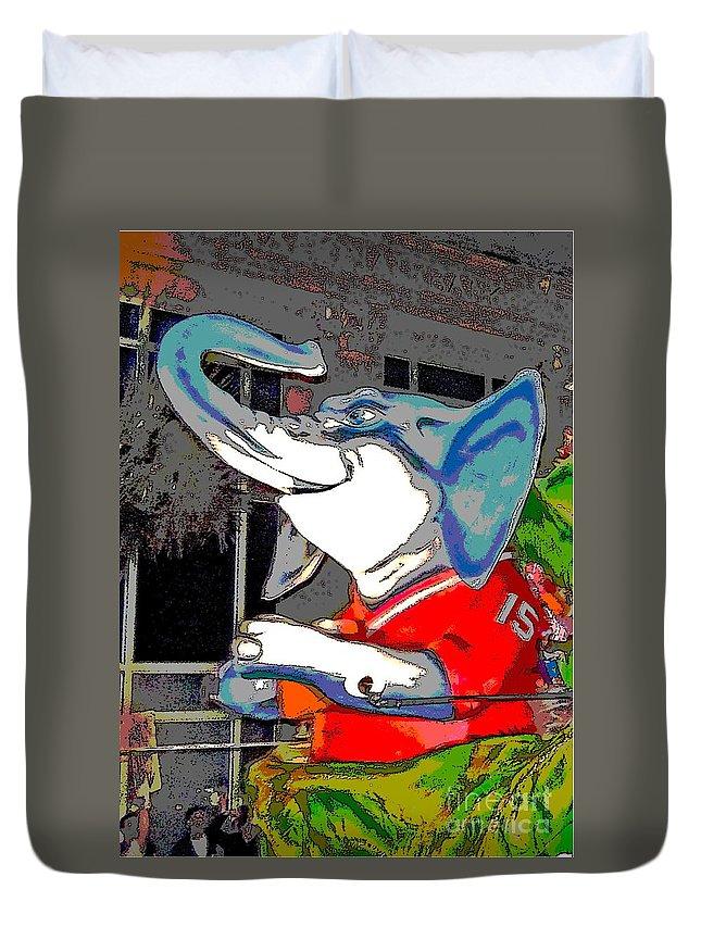 Digital Art Duvet Cover featuring the photograph Big Al - Bama's Mascot by Marian Bell