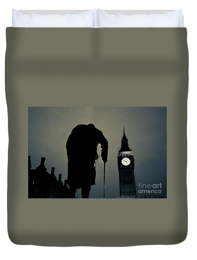 Big Ben Duvet Cover featuring the photograph Big Ben And Winston Churchill by Lana Enderle