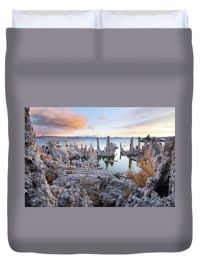 Water's Edge Duvet Cover featuring the photograph Big Cloud Above Tufas On Mono Lake by Rezus