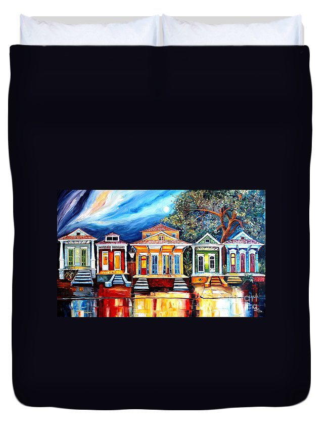 New Orleans Duvet Cover featuring the painting Big Easy Shotguns by Diane Millsap