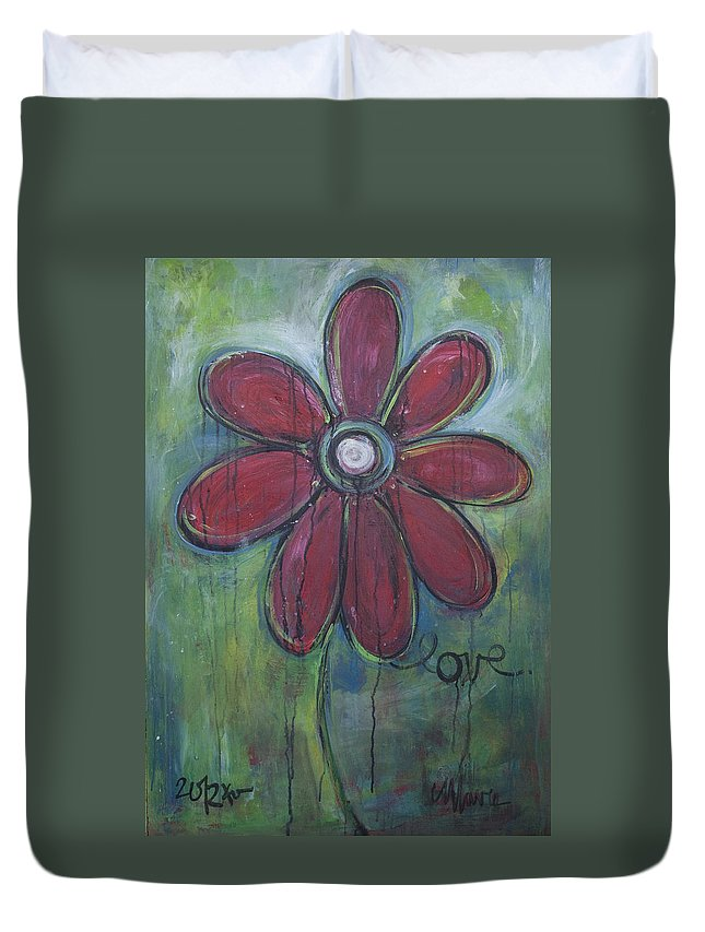 Daisey Duvet Cover featuring the painting Big Love Daisey by Laurie Maves ART