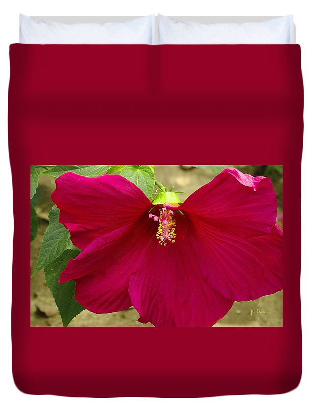 Hibiscus Duvet Cover featuring the photograph Big Red Hibiscus Bloom by James C Thomas