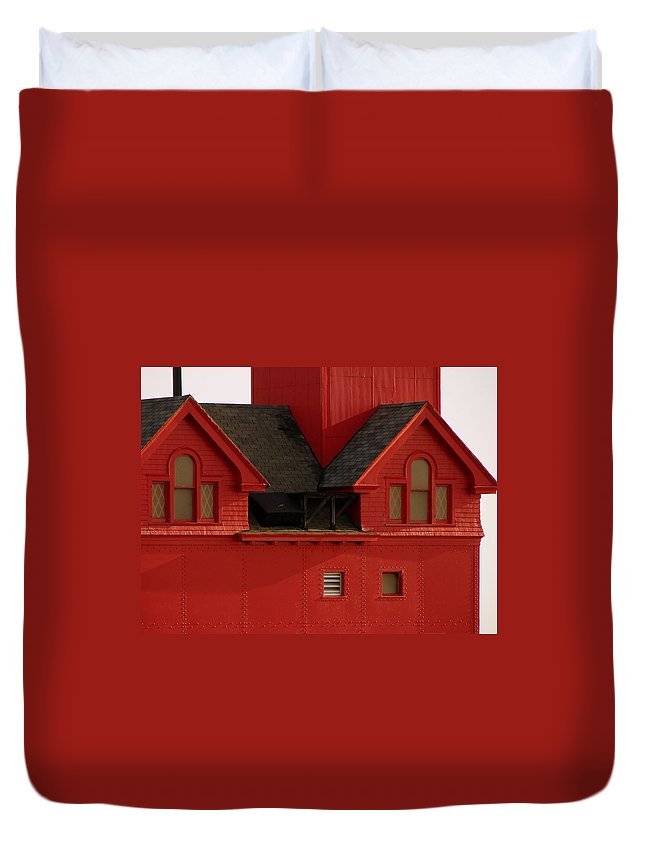 Windows Duvet Cover featuring the photograph Big Red Holland Harbor Light Michigan by Michelle Calkins