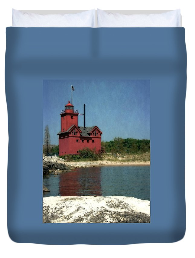 Michigan Duvet Cover featuring the photograph Big Red Holland Michigan Lighthouse by Michelle Calkins