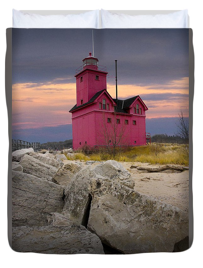 Lighthouse Duvet Cover featuring the photograph Big Red Lighthouse By Holland Michigan by Randall Nyhof