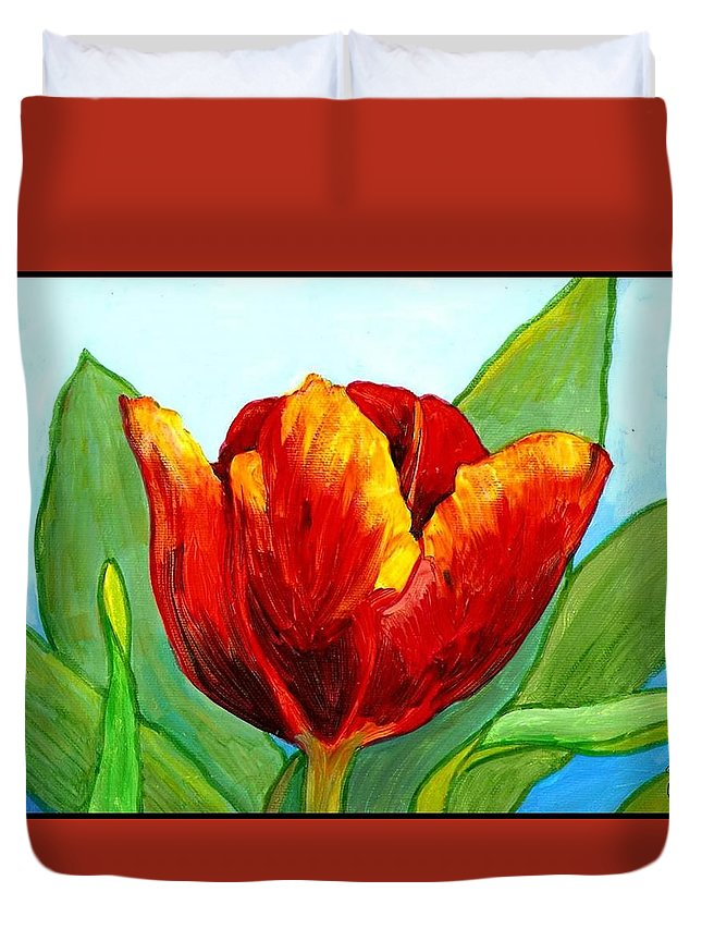 Tulip Duvet Cover featuring the painting Big Red Tulip by Jim Harris