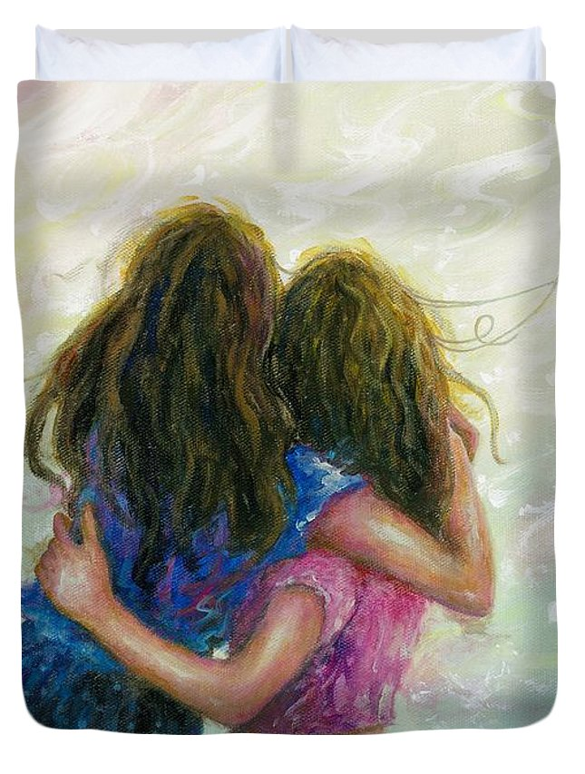 Two Sisters Duvet Cover featuring the painting Big Sister Hug by Vickie Wade