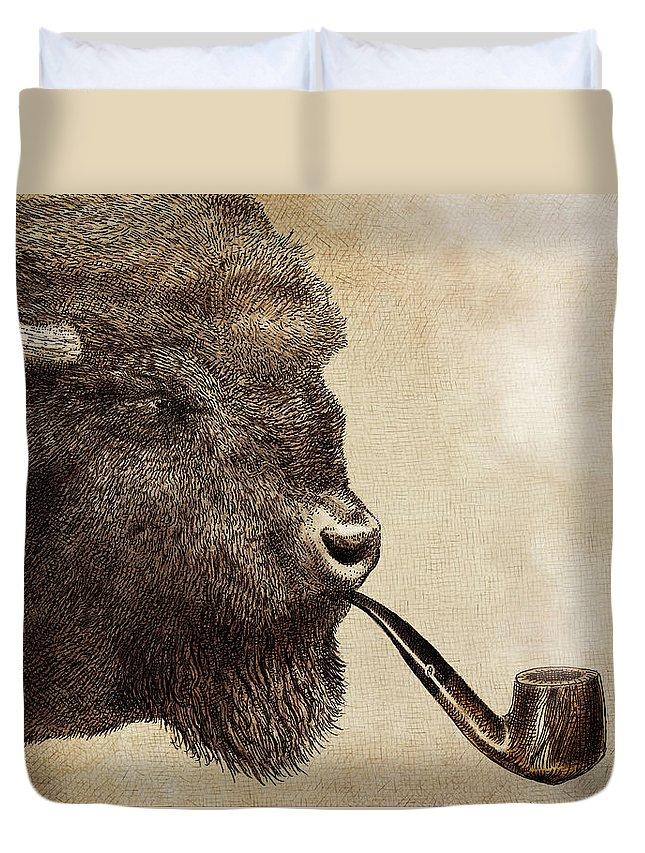 Buffalo Duvet Cover featuring the drawing Big Smoke by Eric Fan