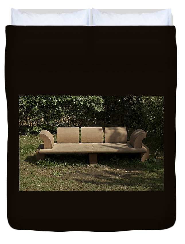 Bench Duvet Cover featuring the photograph Big Stone Bench Inside The Garden Of 5 Senses by Ashish Agarwal