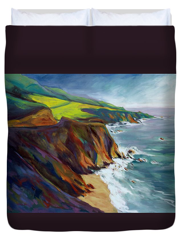 Big Duvet Cover featuring the painting Big Sur 1 by Konnie Kim