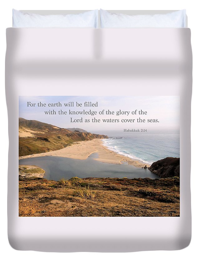 Big Sure Duvet Cover featuring the photograph For The Earth Will Be Filled... - Big Sur by Jerry Cline