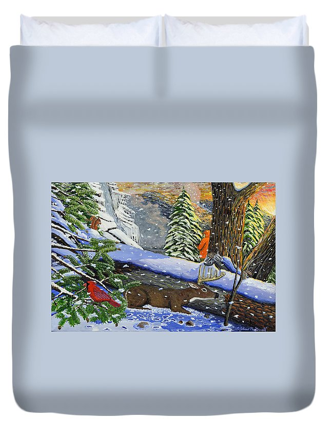 Landscape Deer Hunting Red Bird Hemlock Trees And Old Chestnut Trees Duvet Cover featuring the painting Big Timber Buck by Carey MacDonald