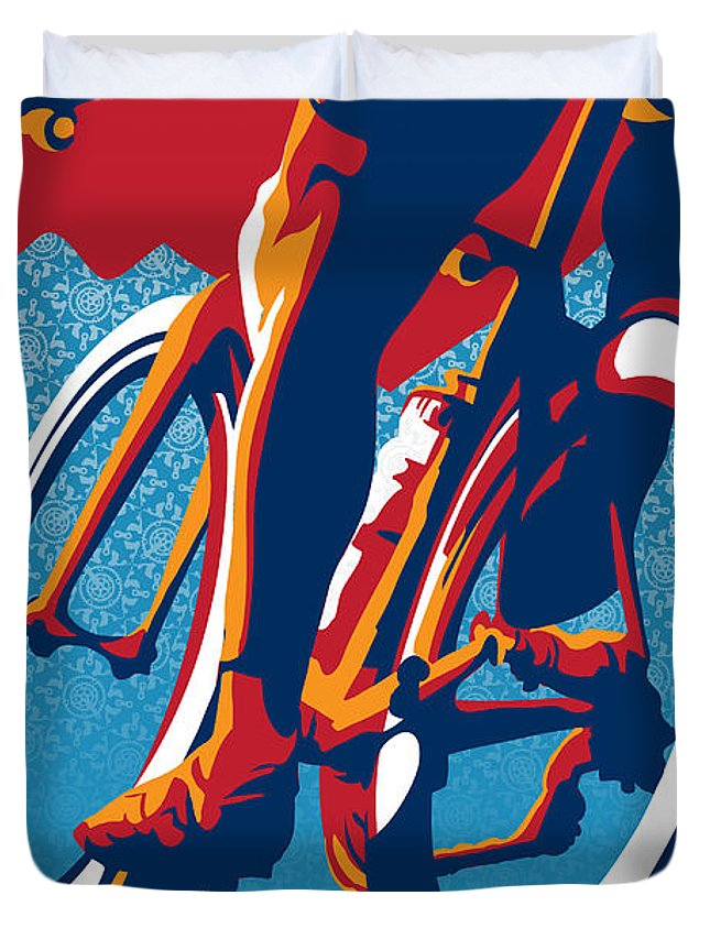 Retro Cycling Poster Duvet Cover featuring the painting Bike Hard by Sassan Filsoof