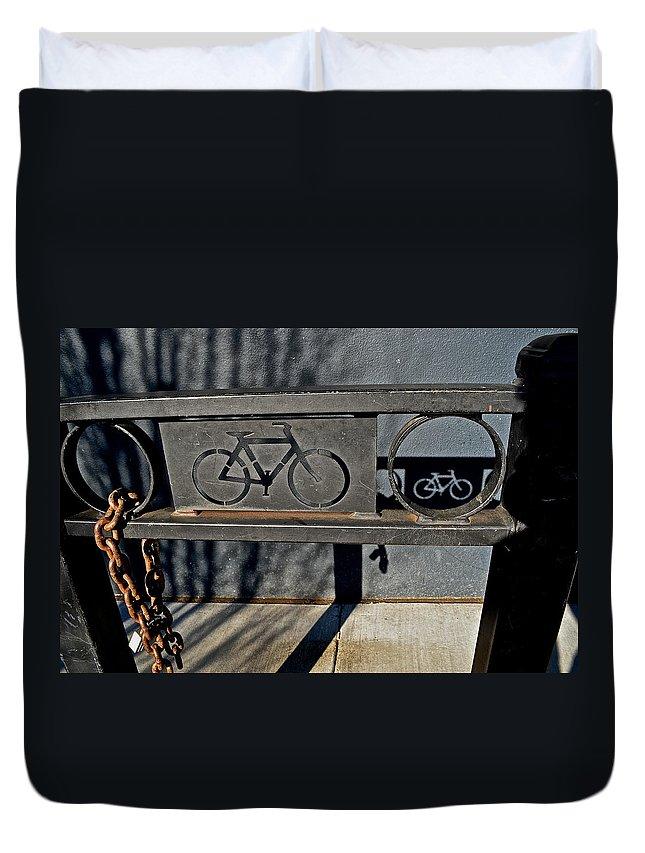 Bike Rack Duvet Cover featuring the photograph Bike Rack by Bill Owen