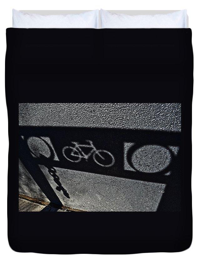 Bike Rack Duvet Cover featuring the photograph Bike Rack Shadow by Bill Owen