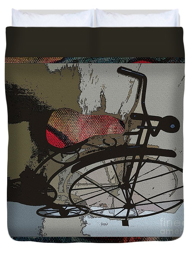 Bike Duvet Cover featuring the painting Bike Seat View by Ecinja
