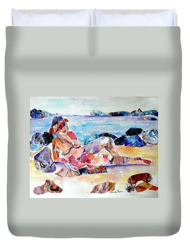 Beach Duvet Cover featuring the mixed media Bikini In Paradise by Sandy Ryan