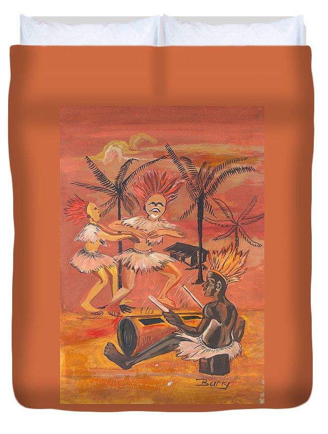 Barry Art Duvet Cover featuring the painting Bikutsi Dance From Cameroon by Emmanuel Baliyanga