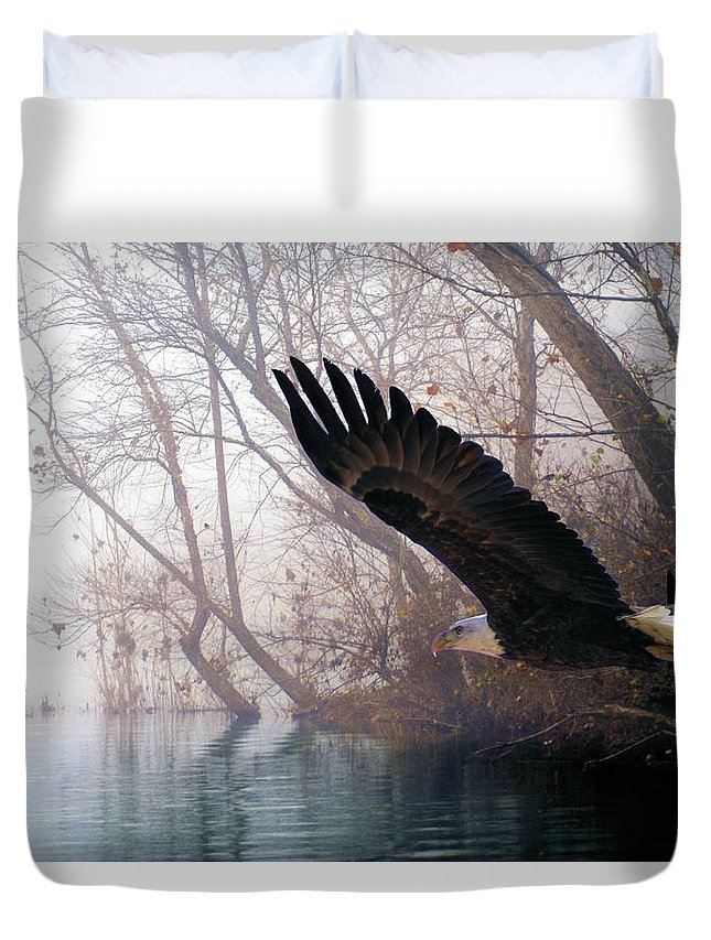 Eagles Duvet Cover featuring the mixed media Bilbow's Eagle by Bill Stephens
