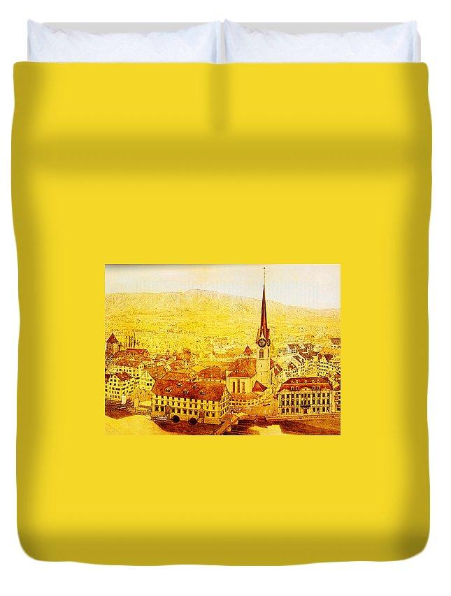 Bild Fraumuenster Duvet Cover featuring the painting Bild Fraumuenster by MotionAge Designs